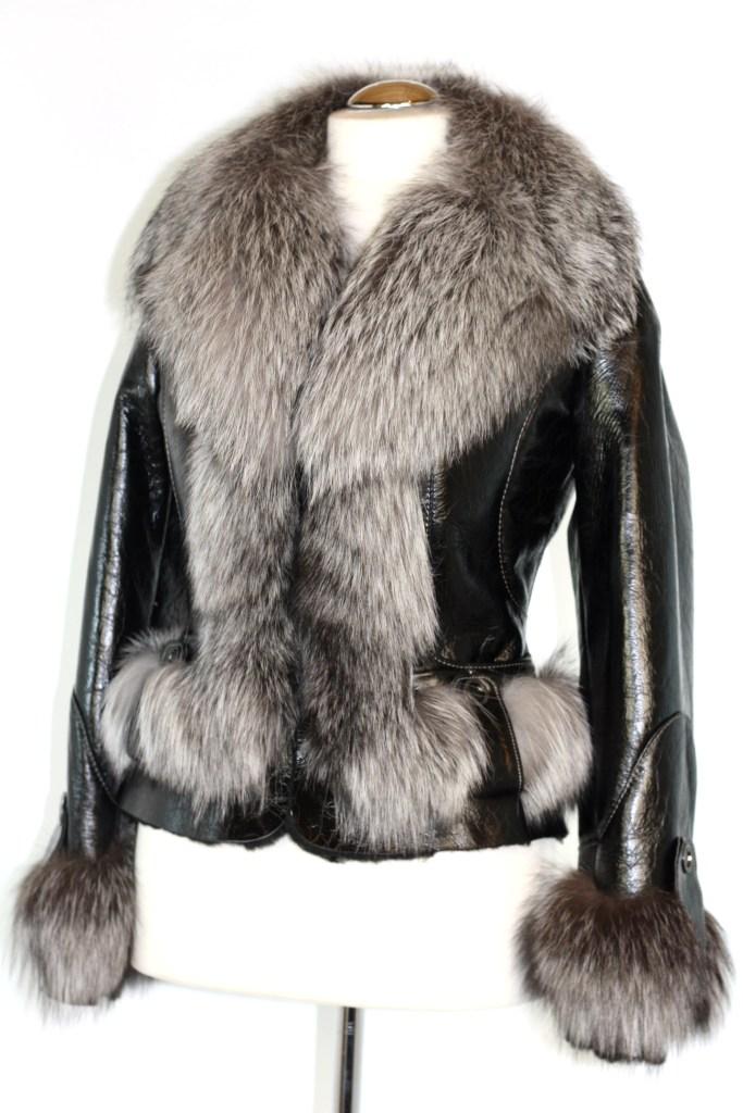 brava leder pelzjacke damen lammfell fuchs pelz fox ebay. Black Bedroom Furniture Sets. Home Design Ideas